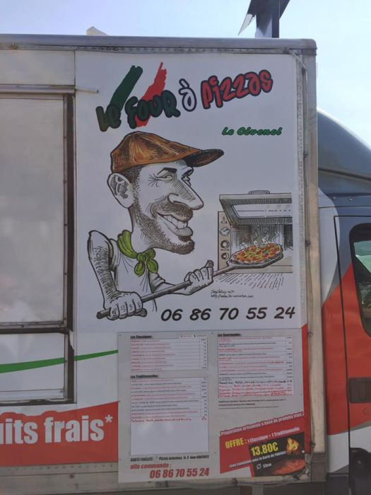 La Caricature - support communication pizzaiolo - camion